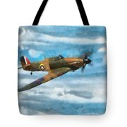 Hurricane Fighter Watercolour Tote Bag