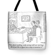 Husband And Wife Sitting At The Desk Tote Bag