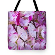 Hydrangea With Bright White Butterfly Tote Bag