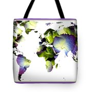 Hydrangea World Map Tote Bag