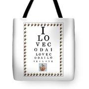 I Love Coda Eye Chart Tote Bag