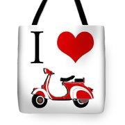 I Love Vespa Tote Bag