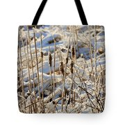 Ice Coated Bullrushes Tote Bag