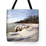 Ice Covered Shores Of Lake Michigan Tote Bag