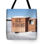 Ice Fishing Hut Tote Bag