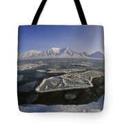 Ice Floes And Mountains Svalbard Norway Tote Bag