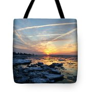 Ice On The Delaware River Tote Bag