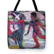 Ice Skaters  Tote Bag by Ernst Ludwig Kirchner