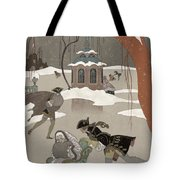 Ice Skating On The Frozen Lake Tote Bag by Georges Barbier