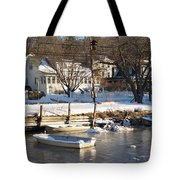 Icebound Harbor Tote Bag
