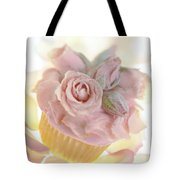 Iced Cup Cake With Sugared Pink Roses Tote Bag