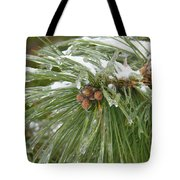 Iced Over Pine Cones Tote Bag