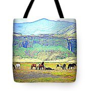 the Icelandic summer scene contains almost everything  Tote Bag