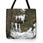 Icicle Formations In The Upper Peninsula Tote Bag
