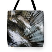 Icicles Hanging In Rocky Gorge In Cold Winter Tote Bag