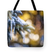 Icicles On Fir Tree In Winter Tote Bag