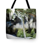 Icicles On Juniper Branch Tote Bag