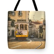 Iconic Lisbon Streetcar No. 28 Iv Tote Bag