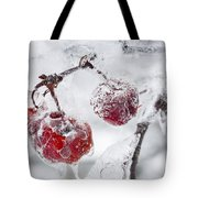 Icy Branch With Crab Apples Tote Bag