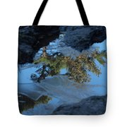Icy Evergreen Reflection Tote Bag