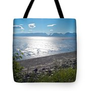 Icy-looking Kachemak Bay In Sunlight From Homer Spit-ak  Tote Bag