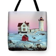 Icy Nubble Lighthouse Tote Bag