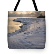 Icy Patterns On The Snow - A Lake Shore Morning Tote Bag