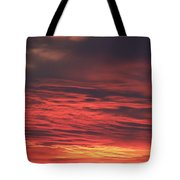 Icy Red Sky Tote Bag