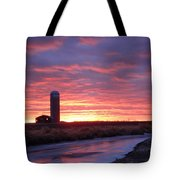 Icy River Sunset Tote Bag
