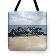 Icy Rocks And Blowing Snow Tote Bag