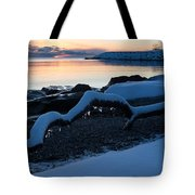 Icy Snowy Winter Sunrise On The Lake Tote Bag
