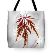 Icy Winter Leaf Tote Bag