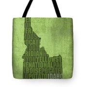 Idaho State Word Art Map On Canvas Tote Bag