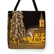 Idylic Winter Cityscape Evening In Snow Tote Bag