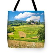 Idyllic Agricultural Landscape Panoramic View Tote Bag