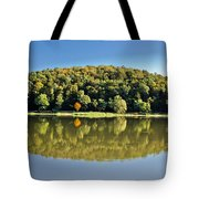 Idyllic Autumn Reflections On Lake Surface Tote Bag