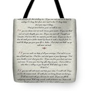 If By Rudyard Kipling Typography On Parchment Tote Bag