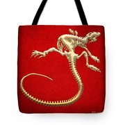 Iguana Skeleton In Gold On Red  Tote Bag