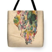 Illinois Map Vintage Watercolor Tote Bag
