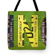 Illinois State Name License Plate Art Tote Bag