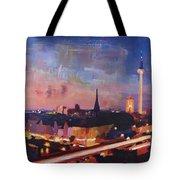 Illuminated Berlin Skyline At Dusk  Tote Bag