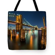 Illuminated Brooklyn Bridge By Night Tote Bag