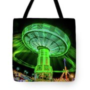 Illuminated Fair Ride With Blurred Neon Tote Bag