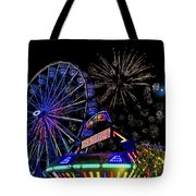 Illuminated Ferris Wheel With Neon Tote Bag