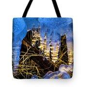 Illuminated Icicles At Sunset Tote Bag