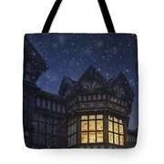 Illuminated Windows Of A Turret In A Timber Framed Tudor House Tote Bag