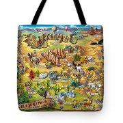 Illustrated Map Of Arizona Tote Bag