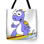 Illustration Of A Surfing Spinosaurus Tote Bag