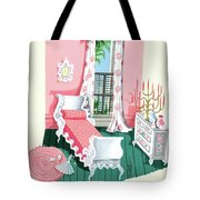 Illustration Of A Victorian Style Pink And Green Tote Bag