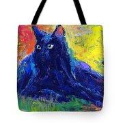 Impasto Black Cat Painting Tote Bag